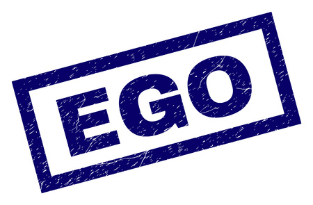 Rectangle EGO seal print with distress surface. Rubber seal imitation has rectangle frame. Blue vector rubber print of EGO label with corroded texture. Çizim