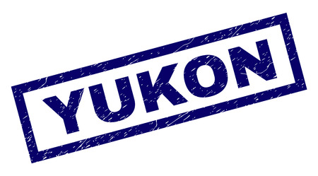 Rectangle YUKON seal print with corroded surface. Rubber seal imitation has rectangle frame. Blue vector rubber print of YUKON caption with grunge texture. Illustration