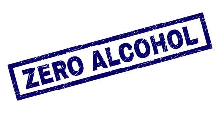 Rectangle ZERO ALCOHOL seal watermark with distress texture. Rubber seal imitation has rectangle frame. Blue vector rubber print of ZERO ALCOHOL title with scratched texture.