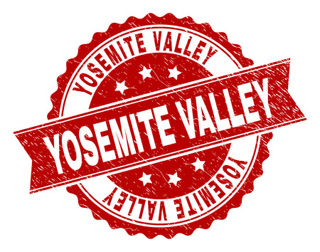 YOSEMITE VALLEY seal print with corroded surface. Rubber seal imitation has round medallion form and contains ribbon. Red vector rubber print of YOSEMITE VALLEY caption with corroded texture.