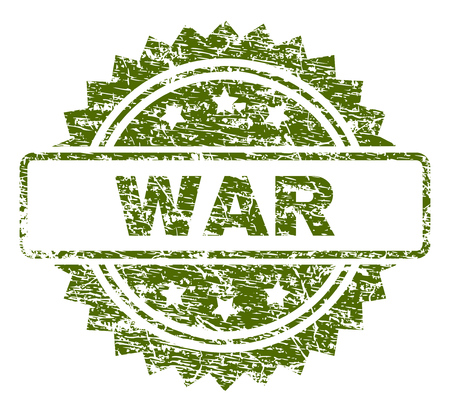 WAR stamp seal watermark with rubber print style. Green vector rubber print of WAR label with retro texture.