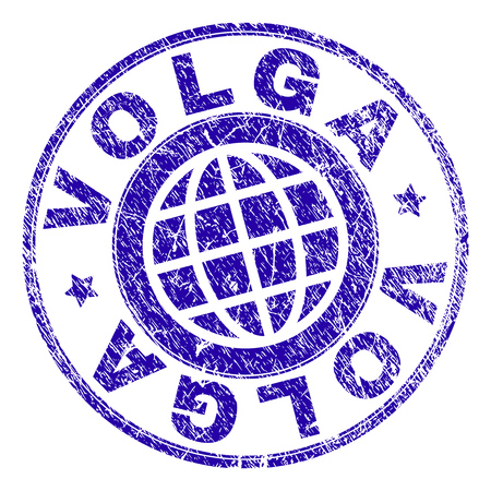VOLGA stamp print with grunge texture. Blue vector rubber seal print of VOLGA tag with dirty texture. Seal has words placed by circle and planet symbol.