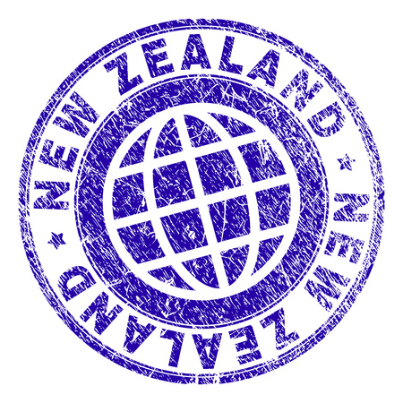 NEW ZEALAND stamp imprint with grunge texture. Blue vector rubber seal imprint of NEW ZEALAND tag with dust texture. Seal has words placed by circle and globe symbol.