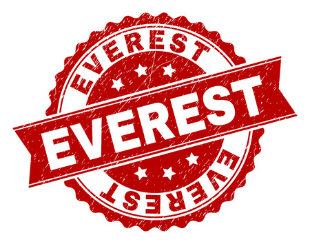 EVEREST seal print with distress texture. Rubber seal imitation has round medallion shape and contains ribbon. Red vector rubber print of EVEREST text with corroded texture.
