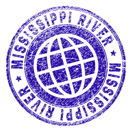 MISSISSIPPI RIVER stamp imprint with grunge texture. Blue vector rubber seal imprint of MISSISSIPPI RIVER tag with dust texture. Seal has words arranged by circle and globe symbol. Illustration