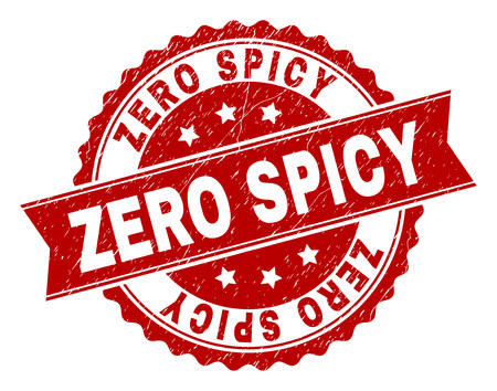 ZERO SPICY seal watermark with corroded texture. Rubber seal imitation has round medal shape and contains ribbon. Red vector rubber print of ZERO SPICY label with corroded texture. Ilustrace