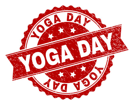YOGA DAY seal print with corroded texture. Rubber seal imitation has round medal shape and contains ribbon. Red vector rubber print of YOGA DAY title with dust texture.