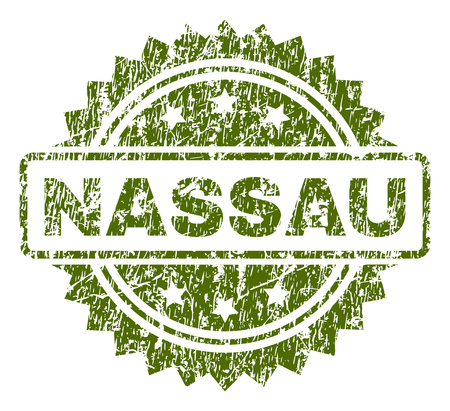 NASSAU stamp seal watermark with rubber print style. Green vector rubber print of NASSAU tag with scratched texture.