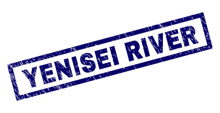 Rectangle YENISEI RIVER seal print with corroded texture. Rubber seal imitation has rectangle frame. Blue vector rubber print of YENISEI RIVER caption with unclean texture. Illustration