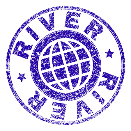 RIVER stamp print with grunge effect. Blue vector rubber seal print of RIVER caption with grunge texture. Seal has words placed by circle and globe symbol. Illustration