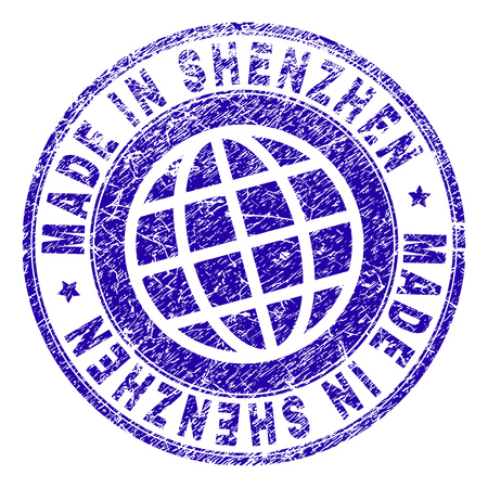 MADE IN SHENZHEN stamp imprint with grunge effect. Blue vector rubber seal imprint of MADE IN SHENZHEN label with grunge texture. Seal has words placed by circle and planet symbol.