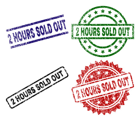 2 HOURS SOLD OUT seal prints with damaged texture. Black, green,red,blue vector rubber prints of 2 HOURS SOLD OUT title with corroded texture. Rubber seals with circle, rectangle, medallion shapes.