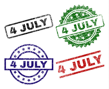 4 JULY seal prints with corroded surface. Black, green,red,blue vector rubber prints of 4 JULY title with scratched surface. Rubber seals with round, rectangle, medallion shapes. 일러스트