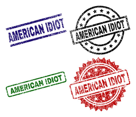 AMERICAN IDIOT seal prints with damaged surface. Black, green,red,blue vector rubber prints of AMERICAN IDIOT caption with retro style. Rubber seals with round, rectangle, medal shapes.