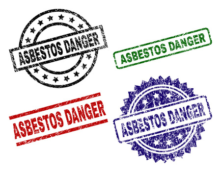 ASBESTOS DANGER seal prints with corroded style. Black, green,red,blue vector rubber prints of ASBESTOS DANGER title with retro style. Rubber seals with round, rectangle, rosette shapes.