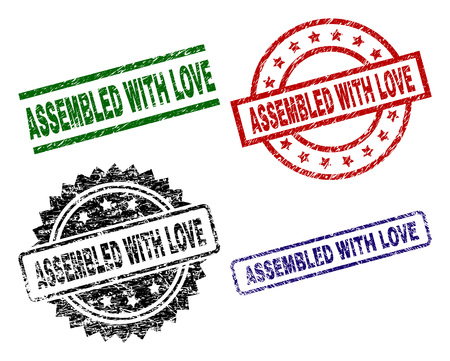 ASSEMBLED WITH LOVE seal prints with corroded style. Black, green,red,blue vector rubber prints of ASSEMBLED WITH LOVE text with retro style. Rubber seals with circle, rectangle, rosette shapes.