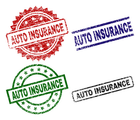 AUTO INSURANCE seal stamps with damaged surface. Black, green,red,blue vector rubber prints of AUTO INSURANCE caption with dust surface. Rubber seals with circle, rectangle, medallion shapes. Çizim