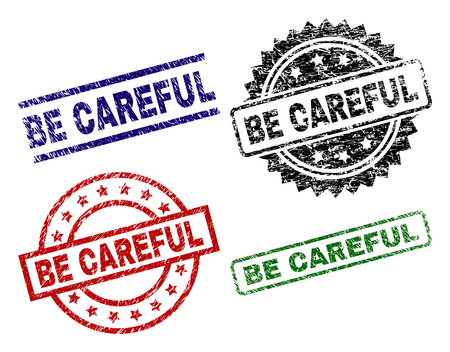 BE CAREFUL seal prints with corroded style. Black, green,red,blue vector rubber prints of BE CAREFUL tag with corroded style. Rubber seals with round, rectangle, rosette shapes.