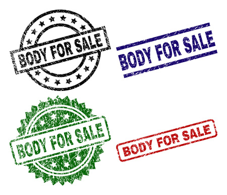 BODY FOR SALE seal prints with corroded surface. Black, green,red,blue vector rubber prints of BODY FOR SALE title with corroded texture. Rubber seals with round, rectangle, medallion shapes.