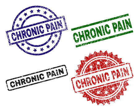 CHRONIC PAIN seal prints with corroded style. Black, green,red,blue vector rubber prints of CHRONIC PAIN tag with scratched style. Rubber seals with round, rectangle, medal shapes.