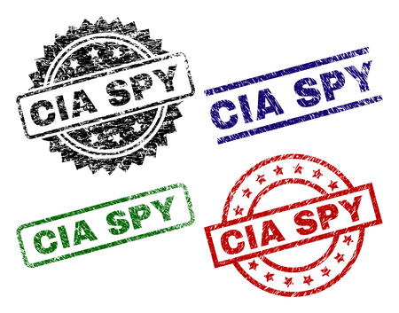 CIA SPY seal stamps with corroded style. Black, green,red,blue vector rubber prints of CIA SPY label with corroded style. Rubber seals with round, rectangle, medal shapes.