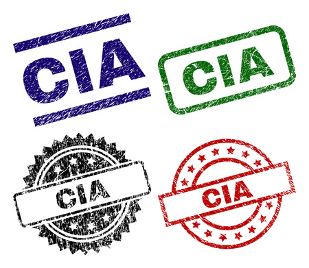 CIA seal prints with distress style. Black, green,red,blue vector rubber prints of CIA text with dirty style. Rubber seals with circle, rectangle, medal shapes.