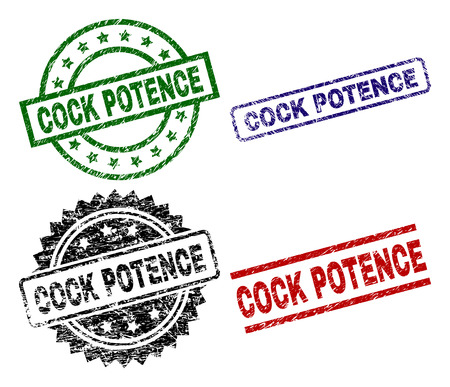 COCK POTENCE seal stamps with corroded surface. Black, green,red,blue vector rubber prints of COCK POTENCE label with scratched surface. Rubber seals with round, rectangle, rosette shapes.