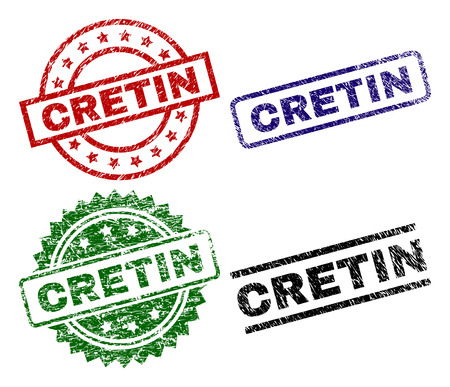 CRETIN seal prints with damaged surface. Black, green,red,blue vector rubber prints of CRETIN tag with grunge style. Rubber seals with round, rectangle, medal shapes.