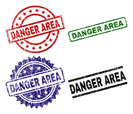DANGER AREA seal prints with distress surface. Black, green,red,blue vector rubber prints of DANGER AREA tag with scratched surface. Rubber seals with round, rectangle, medallion shapes.
