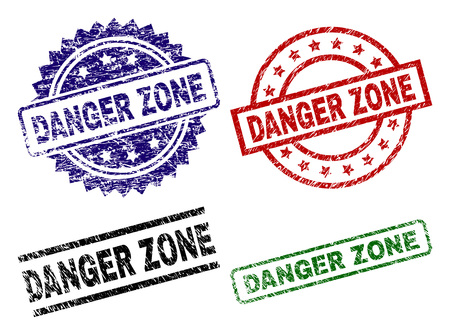 DANGER ZONE seal prints with damaged surface. Black, green,red,blue vector rubber prints of DANGER ZONE text with retro surface. Rubber seals with circle, rectangle, rosette shapes.