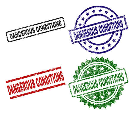 DANGEROUS CONDITIONS seal prints with corroded texture. Black, green,red,blue vector rubber prints of DANGEROUS CONDITIONS label with corroded texture. Rubber seals with round, rectangle, 向量圖像