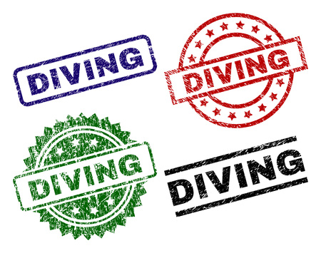DIVING seal prints with distress surface. Black, green,red,blue vector rubber prints of DIVING label with corroded surface. Rubber seals with round, rectangle, medal shapes.