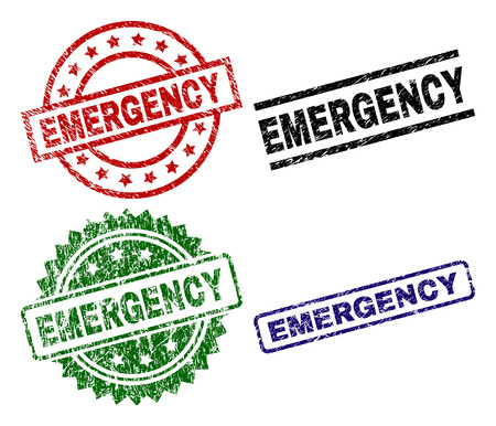 EMERGENCY seal prints with distress texture. Black, green,red,blue vector rubber prints of EMERGENCY title with scratched texture. Rubber seals with circle, rectangle, rosette shapes.