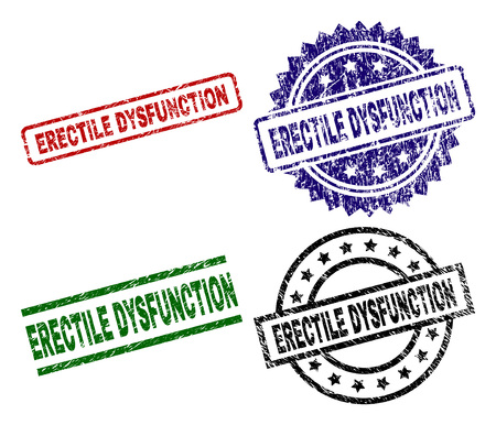 ERECTILE DYSFUNCTION seal stamps with corroded style. Black, green,red,blue vector rubber prints of ERECTILE DYSFUNCTION title with corroded style. Rubber seals with round, rectangle, rosette shapes.