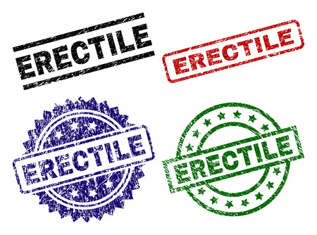 ERECTILE seal prints with corroded surface. Black, green,red,blue vector rubber prints of ERECTILE caption with unclean surface. Rubber seals with round, rectangle, medal shapes.