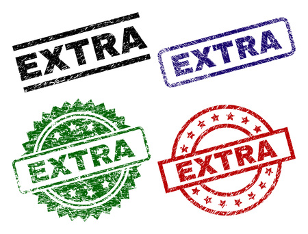 EXTRA seal prints with damaged style. Black, green,red,blue vector rubber prints of EXTRA caption with scratched style. Rubber seals with circle, rectangle, rosette shapes.