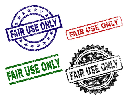 FAIR USE ONLY seal prints with damaged style. Black, green,red,blue vector rubber prints of FAIR USE ONLY title with retro style. Rubber seals with round, rectangle, medal shapes.