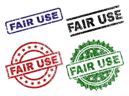 FAIR USE seal prints with corroded surface. Black, green,red,blue vector rubber prints of FAIR USE caption with corroded surface. Rubber seals with round, rectangle, medallion shapes.