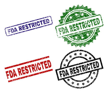 FDA RESTRICTED seal stamps with corroded surface. Black, green,red,blue vector rubber prints of FDA RESTRICTED tag with unclean surface. Rubber seals with round, rectangle, medallion shapes.