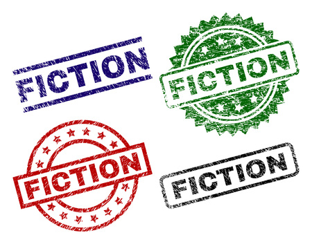 FICTION seal prints with damaged style. Black, green,red,blue vector rubber prints of FICTION caption with dust style. Rubber seals with circle, rectangle, medal shapes.