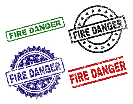 FIRE DANGER seal prints with corroded surface. Black, green,red,blue vector rubber prints of FIRE DANGER title with corroded surface. Rubber seals with circle, rectangle, medal shapes.