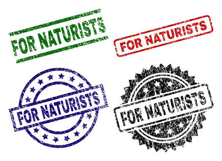 FOR NATURISTS seal imprints with damaged style. Black, green,red,blue vector rubber prints of FOR NATURISTS title with unclean style. Rubber seals with round, rectangle, medallion shapes.