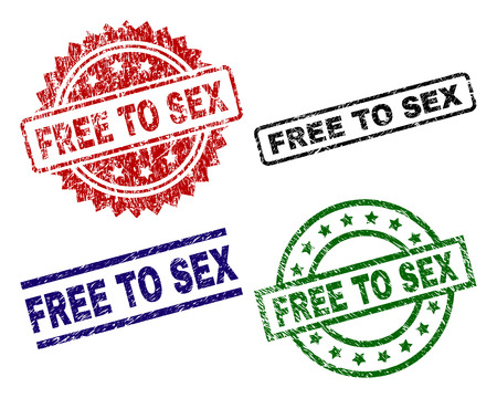 FREE TO SEX seal prints with corroded surface. Black, green,red,blue vector rubber prints of FREE TO SEX text with corroded surface. Rubber seals with circle, rectangle, rosette shapes.