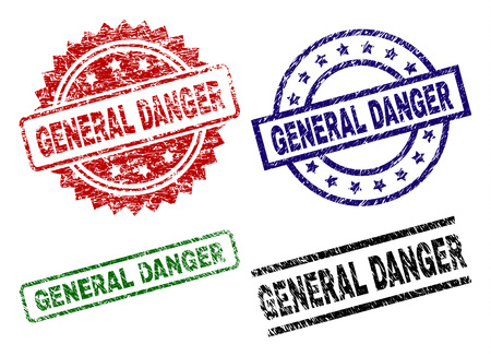 GENERAL DANGER seal prints with distress surface. Black, green,red,blue vector rubber prints of GENERAL DANGER text with dirty surface. Rubber seals with round, rectangle, rosette shapes.