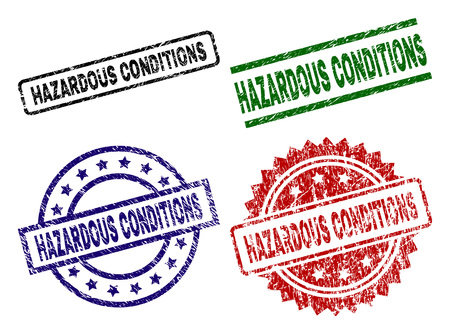 HAZARDOUS CONDITIONS seal imprints with corroded surface. Black, green,red,blue vector rubber prints of HAZARDOUS CONDITIONS caption with corroded surface. Rubber seals with circle, rectangle,