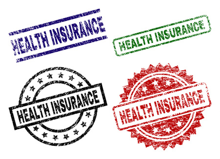 HEALTH INSURANCE seal prints with damaged surface. Black, green,red,blue vector rubber prints of HEALTH INSURANCE tag with retro surface. Rubber seals with circle, rectangle, medallion shapes.