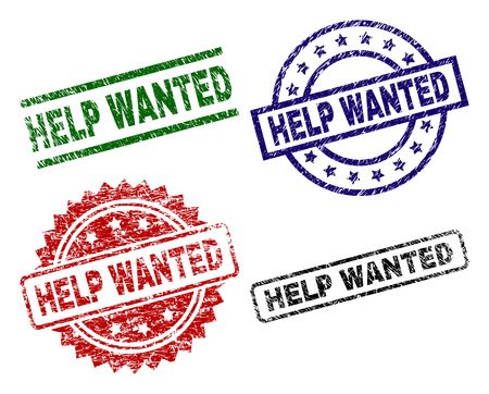 HELP WANTED seal prints with corroded style. Black, green,red,blue vector rubber prints of HELP WANTED label with dirty style. Rubber seals with circle, rectangle, medal shapes.