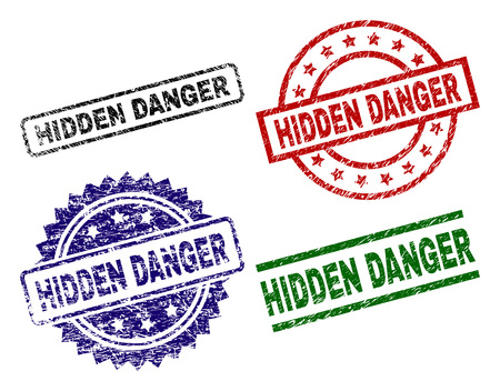 HIDDEN DANGER seal prints with damaged style. Black, green,red,blue vector rubber prints of HIDDEN DANGER title with retro style. Rubber seals with circle, rectangle, medallion shapes.