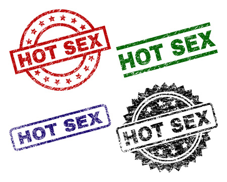 HOT SEX seal prints with corroded texture. Black, green,red,blue vector rubber prints of HOT SEX title with corroded texture. Rubber seals with round, rectangle, medal shapes.