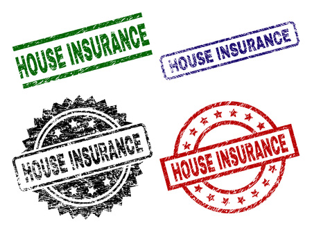 HOUSE INSURANCE seal prints with damaged texture. Black, green,red,blue vector rubber prints of HOUSE INSURANCE text with corroded style. Rubber seals with circle, rectangle, medal shapes. Vectores
